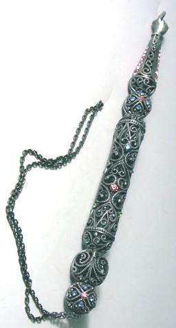 Jeweled TORAH Pointer / Yad - Pewter Filigree - Great Bat Mitzvah gift: Israel Book Shop
