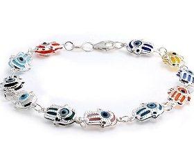 925 Sterling Silver Multi Color Evil Eye Hamsa Charm Bracelet 7 5 Inch