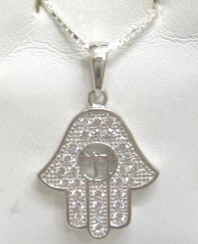 73895b683 925 Sterling Silver Hamsa / Chai Swarovski Crystals Necklace: Israel Book  Shop