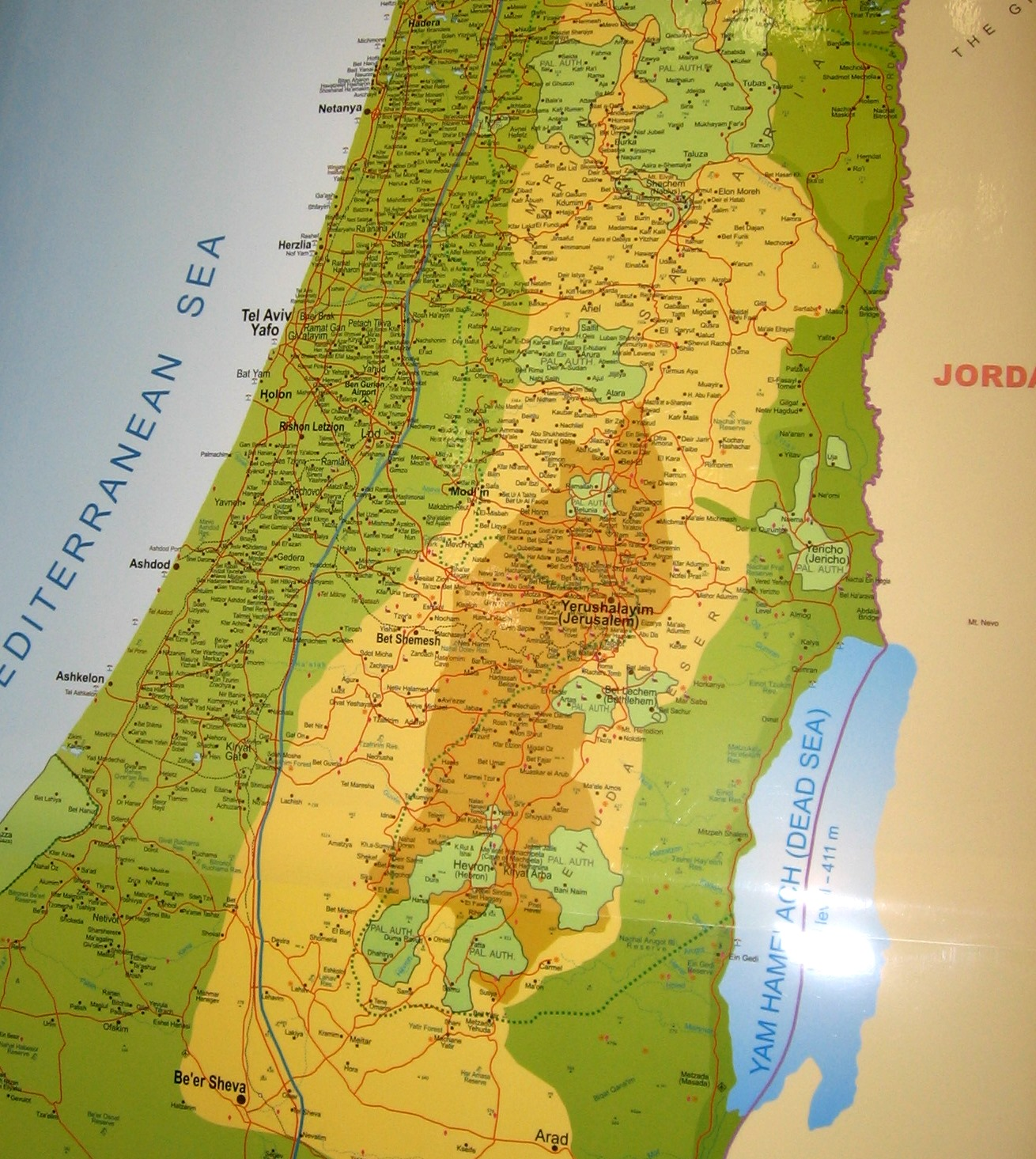 Laminated Wall Map of ISRAEL - English - A Bestseller!: Israel Book Shop